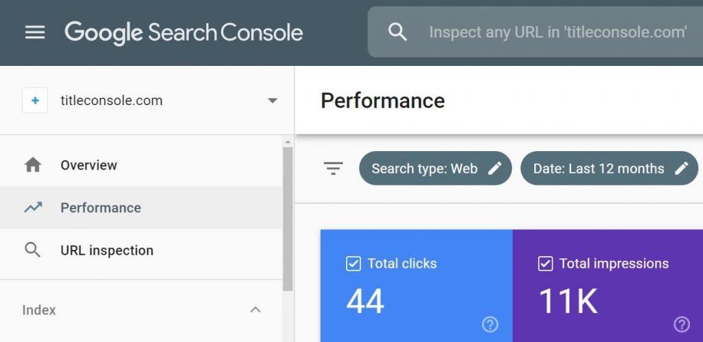 Printscreen of Google Search Console